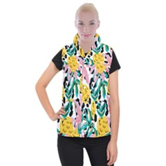 Fruit Pattern Pineapple Leaf Women s Button Up Puffer Vest