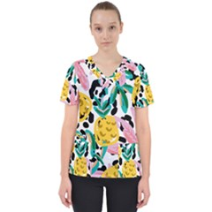Fruit Pattern Pineapple Leaf Scrub Top by Alisyart