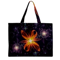 Beautiful Orange Star Lily Fractal Flower At Night Mini Tote Bag by jayaprime