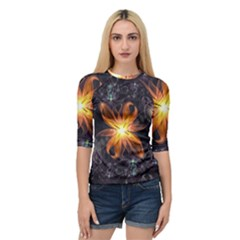 Beautiful Orange Star Lily Fractal Flower At Night Quarter Sleeve Raglan Tee