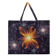 Beautiful Orange Star Lily Fractal Flower At Night Zipper Large Tote Bag by jayaprime