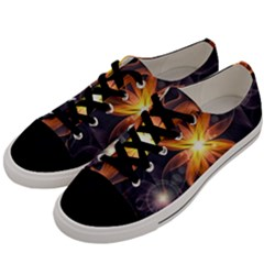 Beautiful Orange Star Lily Fractal Flower At Night Men s Low Top Canvas Sneakers by jayaprime
