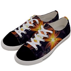 Beautiful Orange Star Lily Fractal Flower At Night Women s Low Top Canvas Sneakers by jayaprime