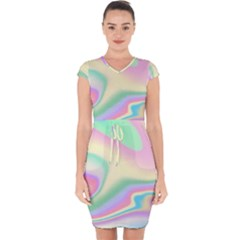 Holographic Design Capsleeve Drawstring Dress