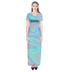 Holographic Design Short Sleeve Maxi Dress
