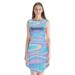 Holographic Design Sleeveless Chiffon Dress