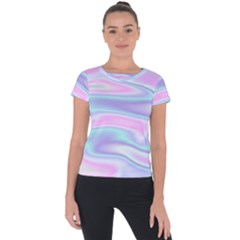 Holographic Design Short Sleeve Sports Top  by tarastyle