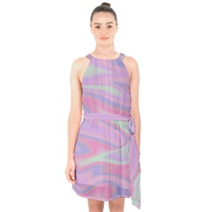 Holographic Design Halter Collar Waist Tie Chiffon Dress