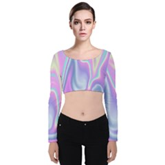 Holographic Design Velvet Long Sleeve Crop Top by tarastyle