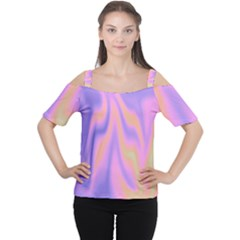 Holographic Design Cutout Shoulder Tee