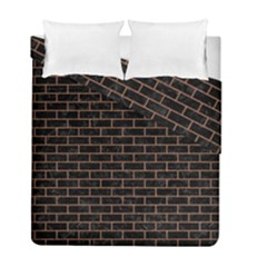 Brick1 Black Marble & Brown Denim (r) Duvet Cover Double Side (full/ Double Size) by trendistuff