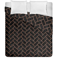 Brick2 Black Marble & Brown Denim (r) Duvet Cover Double Side (california King Size) by trendistuff