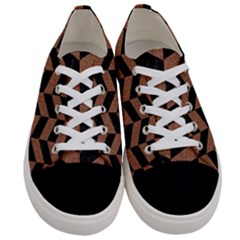 Chevron1 Black Marble & Brown Denim Women s Low Top Canvas Sneakers