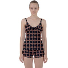 Circles1 Black Marble & Brown Denim Tie Front Two Piece Tankini by trendistuff