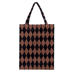 Diamond1 Black Marble & Brown Denim Classic Tote Bag by trendistuff