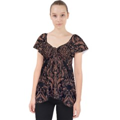 Damask1 Black Marble & Brown Denim (r) Lace Front Dolly Top