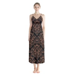 Damask1 Black Marble & Brown Denim (r) Button Up Chiffon Maxi Dress by trendistuff