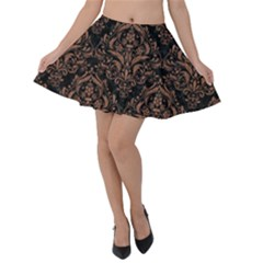 Damask1 Black Marble & Brown Denim (r) Velvet Skater Skirt