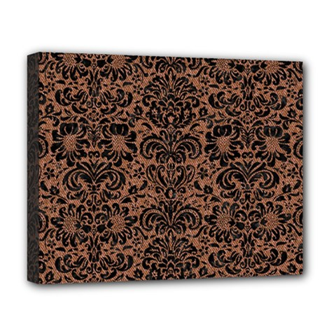 Damask2 Black Marble & Brown Denim Deluxe Canvas 20  X 16   by trendistuff