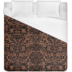 Damask2 Black Marble & Brown Denim Duvet Cover (king Size) by trendistuff