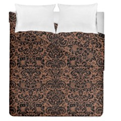 Damask2 Black Marble & Brown Denim Duvet Cover Double Side (queen Size) by trendistuff
