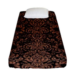 Damask2 Black Marble & Brown Denim (r) Fitted Sheet (single Size) by trendistuff