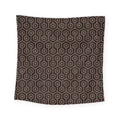 Hexagon1 Black Marble & Brown Denim (r) Square Tapestry (small) by trendistuff