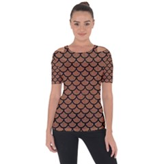 Scales1 Black Marble & Brown Denim Short Sleeve Top
