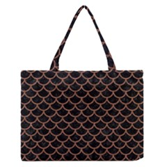 Scales1 Black Marble & Brown Denim (r) Zipper Medium Tote Bag by trendistuff