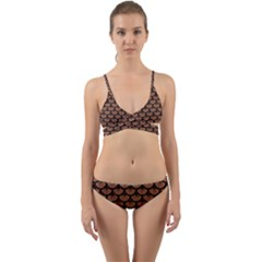 Scales3 Black Marble & Brown Denim Wrap Around Bikini Set