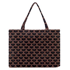 Scales3 Black Marble & Brown Denim (r) Zipper Medium Tote Bag by trendistuff