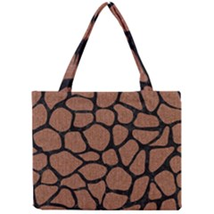 Skin1 Black Marble & Brown Denim (r) Mini Tote Bag by trendistuff