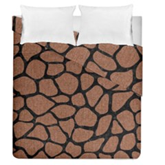 Skin1 Black Marble & Brown Denim (r) Duvet Cover Double Side (queen Size) by trendistuff
