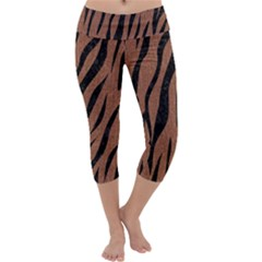 Skin3 Black Marble & Brown Denim Capri Yoga Leggings