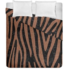 Skin4 Black Marble & Brown Denim Duvet Cover Double Side (california King Size) by trendistuff