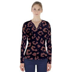Skin5 Black Marble & Brown Denim V Neck Long Sleeve Top