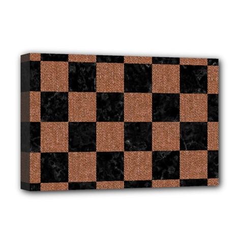 Square1 Black Marble & Brown Denim Deluxe Canvas 18  X 12   by trendistuff