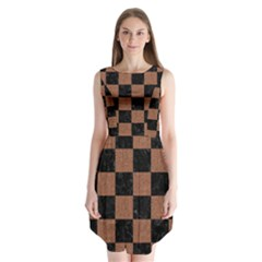 Square1 Black Marble & Brown Denim Sleeveless Chiffon Dress