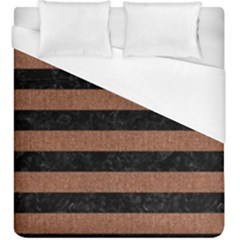 Stripes2 Black Marble & Brown Denim Duvet Cover (king Size) by trendistuff
