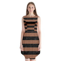 Stripes2 Black Marble & Brown Denim Sleeveless Chiffon Dress