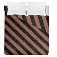 Stripes3 Black Marble & Brown Denim Duvet Cover Double Side (queen Size) by trendistuff