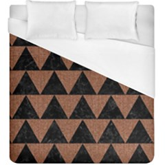 Triangle2 Black Marble & Brown Denim Duvet Cover (king Size) by trendistuff