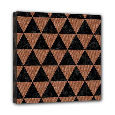 Triangle3 Black Marble & Brown Denim Mini Canvas 8  X 8  by trendistuff