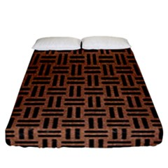 Woven1 Black Marble & Brown Denim Fitted Sheet (california King Size) by trendistuff