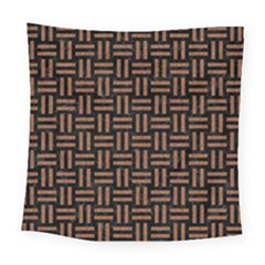 Woven1 Black Marble & Brown Denim (r) Square Tapestry (large)