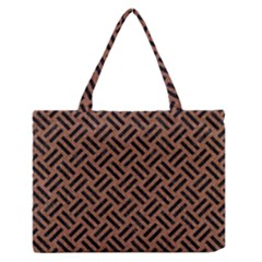 Woven2 Black Marble & Brown Denim Zipper Medium Tote Bag by trendistuff