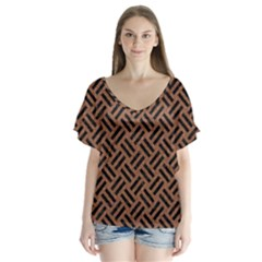 Woven2 Black Marble & Brown Denim V Neck Flutter Sleeve Top by trendistuff