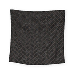 Brick2 Black Marble & Dark Brown Wood (r) Square Tapestry (small) by trendistuff
