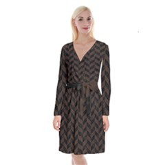 Chevron1 Black Marble & Dark Brown Wood Long Sleeve Velvet Front Wrap Dress