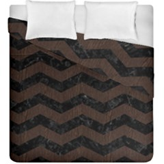 Chevron3 Black Marble & Dark Brown Wood Duvet Cover Double Side (king Size) by trendistuff